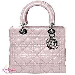 Сумки DIOR Christian DIOR Lady Dior Bag patent leather pink.